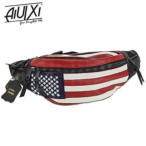 AiUIXi1991-USA Designs Pack Stars & Stripes Belt Bag Travel Purse Waist Real Leather - Multi-Color - Morris Care Bear Costume