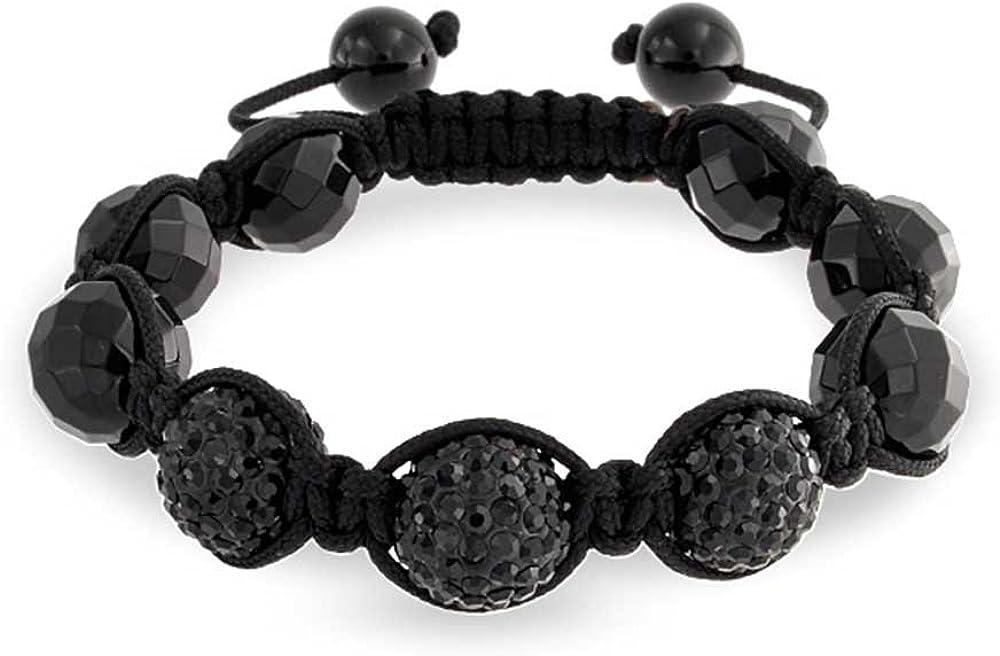 Bling Jewelry Onyx facetado cristal pulsera Shamballa inspirado