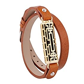 Fitbit Flex 2 Bands, Fit bit Accessories Wristband for Flex2 by GHIJKL-Metal and Leather Bangle-Bracelet Style