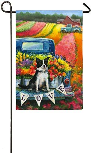 Evergreen Flower Truck and Dog Suede Garden Flag, 12.5 x 18