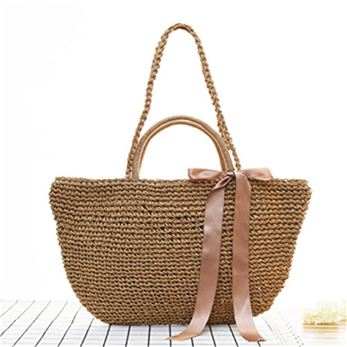 Brown Wicker Bali Bags Straw Women Handbags Shoulder Bags 100 Travel Handmade Knitted Beach MANFDGABNGS Woven w6Wznxg6