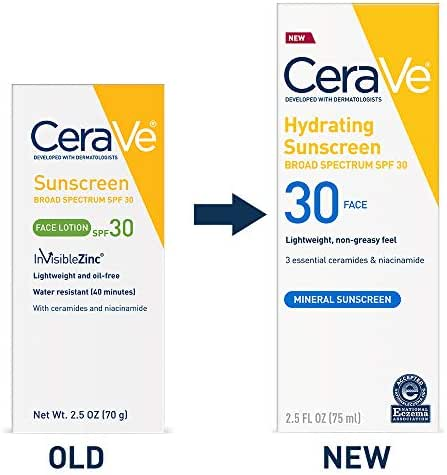 CeraVe Sun Protection, SPF 30 Sunscreen Face Lotion, 2.5 Ounce