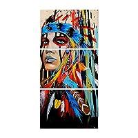 HD stampato 3 pezzi di arte della parete pittura a olio indiano americano su tela piumato decorazione per la casa soggiorno