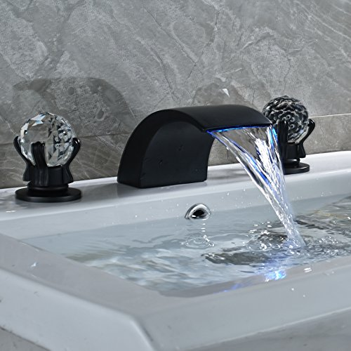 Waterfall Two Light (Rozin LED Light Waterfall Bathroom Basin Faucet 2 Crystal Knobs Sink Mixer Tap Oil Rubbed Bronze)