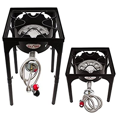 GAS ONE Propane Single Burner 200,000-BTU High Pressure Single Burner Outdoor Brewing Burner with Adjustable Height CSA Listed 0-20PSI High Pressure Regulator and Hose Perfect for Maple Syrup Prep