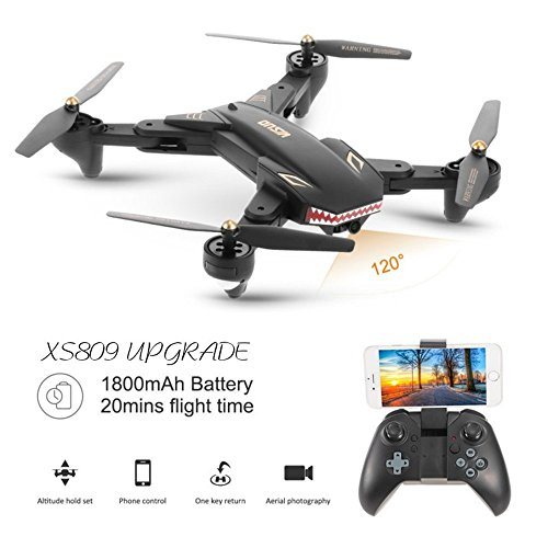 Drone with Camera Live Video VISUO XS809S WIFI FPV Rc Drone with 120°Wide Angle 720P Camera Folding RTF Remote Control Helicopter Toy for Kids and beginners 20 Minutes Fly Time by BIZONOD