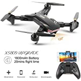 Drone with Camera Live Video VISUO XS809S WIFI FPV Rc Drone with 120°Wide Angle 720P Camera Folding RTF Remote Control Helicopter Toy for Kids and beginners 20 Minutes Fly Time