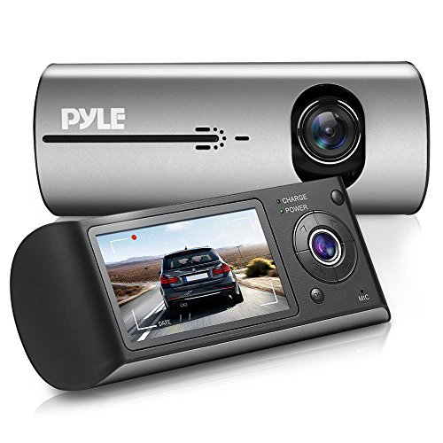 Dual Camera Video Recording System - Car Dash Cam Monitor DVR Video Recorder w/ 2.7'' Digital Screen Display, Rear and Front View Camera,Built-in G-Sensor, GPS Navigation, Rechargeable Battery - Pyle