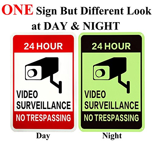 Service Outdoor Led Sign (WISLIFE Video Surveillance Sign - 40 Mil Rust-free Aluminum Glow-in-the-Dark Signs, Home Business 24 Hours Security, No Trespassing Security Sign 10