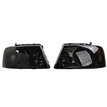 FOR 2004-2008 FORD F-150 F150 PICKUP BLACK//SMOKE HEADLIGHTS HEADLAMPS LEFT+RIGHT