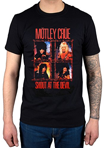 AWDIP Men's Official Motley Crue Shout at The Devil T-Shirt Band Rock Heavy Metal Black ()