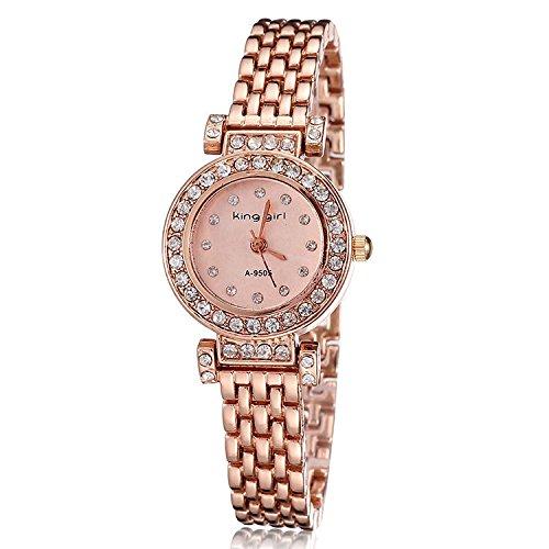 Mujeres Reloj De Pulsera marca de lujo King Girl cristales bañado en oro rosa reloj horas