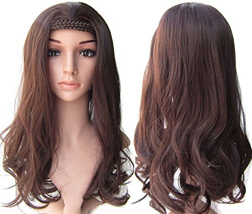 [New Sexy Women Girls Lolita Curly long hair wigs with braid Wavy Anime Cosplay Wigs Queen Natural Synthetic (light] (Full Bobby Light Costume)