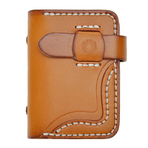 ZLYC Handmade Vegetable Tanned Leather Credit Business Card Holder Wallet Case (Light Brown)