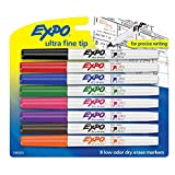 Expo Low-Odor Dry Erase Markers, Ultra-Fine Tip, 8-Pack, Assorted Colors