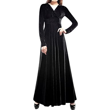 YILIA Womens V-neck Long Sleeve Velvet Stretchy Maxi Dress Black