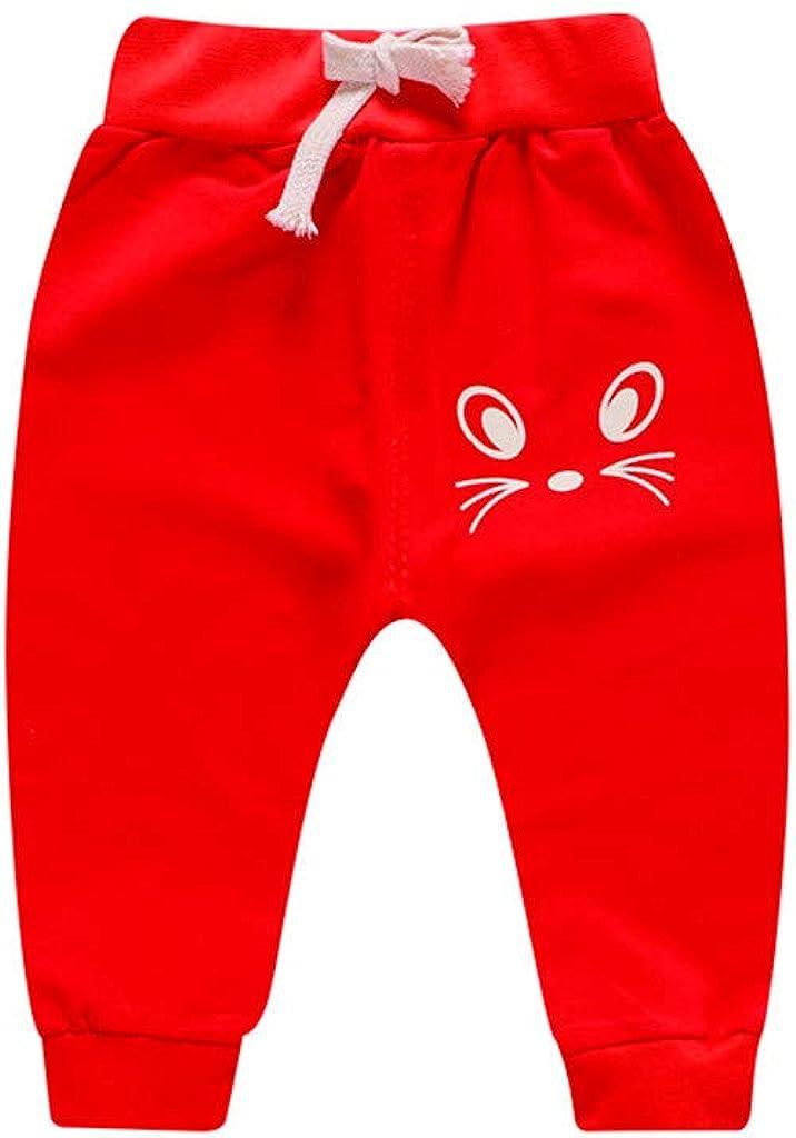 Mr.Macy Newborn Girl Boy Cartoon Cat Printed Casual Pants Sports Trousers