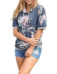 Woman's Fashion Short Sleeve & Long Sleeve Pullover Floral Print Hoodie Sweatshirts Tops