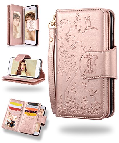 iPhone 8 Plus Case, iPhone 7 Plus Wallet Case, FLYEE 9 Card Slot PU Leather Magnetic Protective Cover with Mirror and Detachable Wrist Strap for iPhone7 Plus iPhone8 Plus 4.7 Inch Rose gold