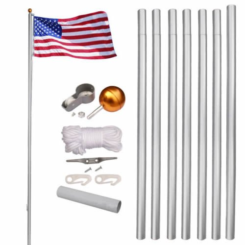 25 Feet Superior Quality Aluminum Flag Pole with Construction Kit and Ball | Come With 7 Section 25 Gauge Rustproof Flag Pole | PVC Sleeve Ground Mounted Pole Flag for (Pvc Ground Sleeve)