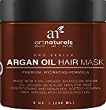 Art Naturals Argan Oil Hair Mask,Deep Conditioner 8 Oz,100% Organic Jojoba Oil, Aloe Vera & Keratin,Repair Dry, Damaged Or Color Treated Hair After Shampoo, Best For All Hair Types-Sulfate Free