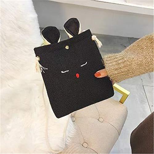 sacs sauvages noir sac Messenger sac féminins imprimée de en Belle nationaux gonflables mini sac lin LANDONA tissu seau toile sac UwA6HH