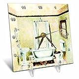 3dRose dc_61865_1 Vintage Bathroom Desk Clock, 6 by 6-Inch For Sale