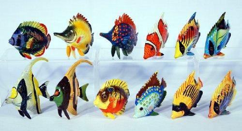 "Handpainted Assorted Tropical Fish Figurine 3"" (Set Of 12)"