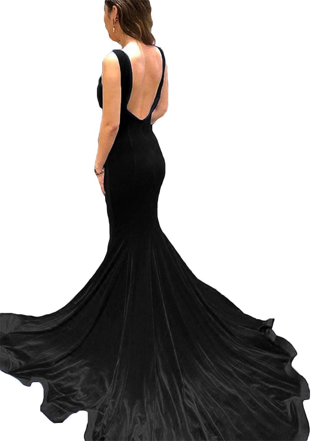 Black Ri Yun Women's Velvet Mermaid Prom Dresses Long Slit Backless Formal Evening Ball Gowns 2019