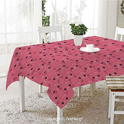 (BeeMeng Spring and Easter Dinner Tablecloth,Kitchen Table Decoration,Pig Decor,Smily Square Faced Little Pigs Eyes Noses Crowd Herd of Animals Pattern,59 x 83 inches)