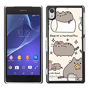 Design for Girls Plastic Cover Case FOR Sony Xperia Z2 Pussy Cat Grey Sleep Marshmallow Play OBBA