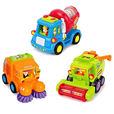 Friction Powered Cars Construction Vehicle Toys for Baby Toddlers 1-3 Years Old, Mixer Truck, Sweeper Truck, Harvester Truck, Push Forward and Running Toys Early Educational Cartoon Set of 3 by WIDELAND that we recomend individually.