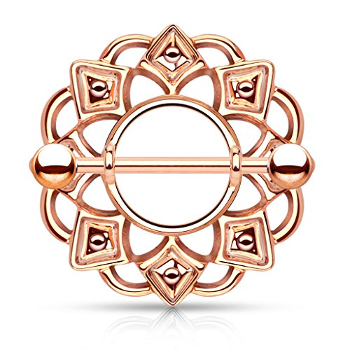 Pair of 14 Gauge 3/4 Inch Barbell Tribal Shield Nipple Ring with 316L Surgical Steel F118 (Rose Gold (Black Tribal Shield)
