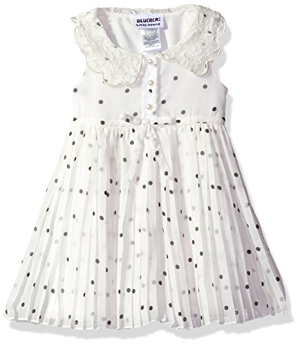 Blueberi Boulevard Baby Girls' Dot Floral PLTD Peterpan Collar Sundress, Ivory, 12M