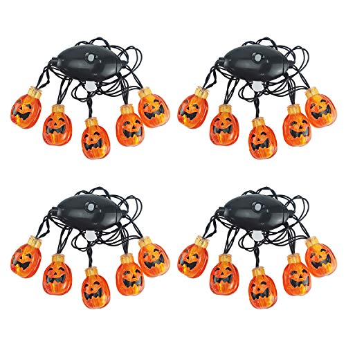 - LAYOER Halloween Pumpkin LED Light Flashing Jack O Lantern Necklace Party Favors (4PACK)