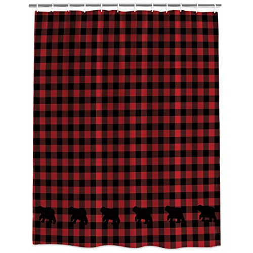 Extra Long Fabric Bath Shower Curtains Classic Black and Red Lattice with Bear Water, Soap and Mildew Resistant Curtains Sets with Hooks 48