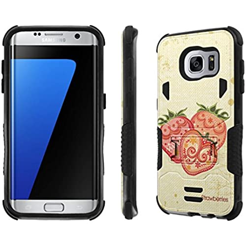 Galaxy S7 Edge Case, [NakedShield] [Black/Black] Combat Tough SHOCK PROOF with KICKStand - [Strawberries] for Samsung Galaxy S7 Edge / GS7 Sales