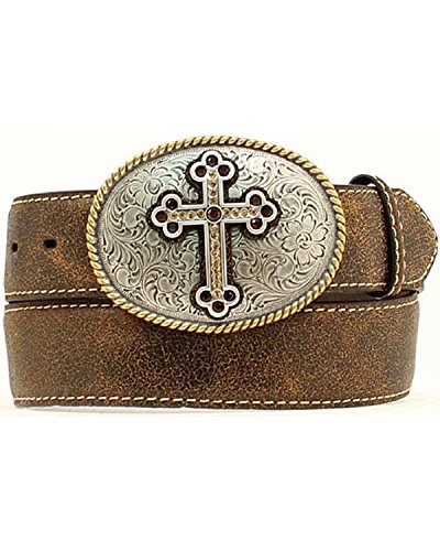 Nocona Leather Jeans (Nocona Women's Distressed Cracked Leather Belt With Fancy Cross Oval Buckle Plus Brown One)
