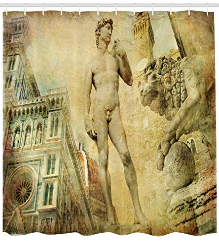 Ambesonne Italy Shower Curtain, Ancient Florence Art Collage Michelangelo David Renaissance, Fabric Bathroom Decor Set with Hooks, 70 inches, Pale Orange ()