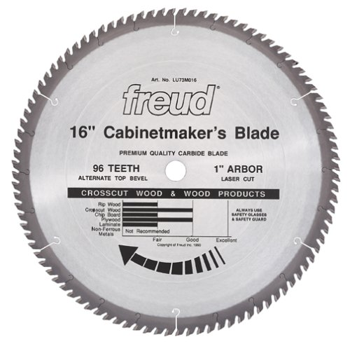 Freud LU73M016 16-Inch 96 Tooth ATB Cabinetmaker's Crosscutting and Ripping Saw Blade with 1-Inch Arbor