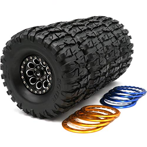2.2 Rock Beadlock Ring - 4pcs RC 2.2 Crawler Mud Tires AR Sour Tyre Heigth(OD):135mm & Aluminum 2.2 Beadlock Wheel Rim with 3 Color Rings (Black/Blue/Gold Color Rings)