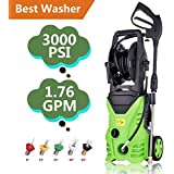 Tomasar Electric Power Pressure Washer 3000 PSI 1.8GPM High Pressure Washer Cleaner Machine 5 Quick-Connect Spray Nozzles (3000PSI-Type2)