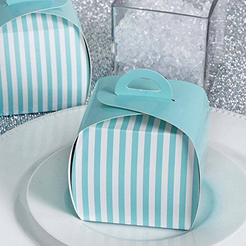 Efavormart Lovable Striped Cupcake Purse Favor Boxes Candy Treat Gift Wrap Box Bridal Shower Wedding Party 10pc - White/Turquoise