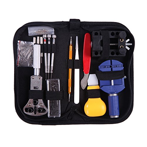 hde-watch-repair-tool-kit-opener-band-adjustment-link-remover-spring-bar-w-carrying-case-147-pc-set