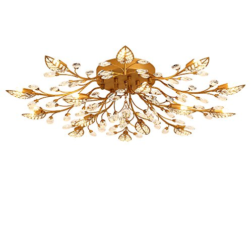 - LightInTheBox Modern G9 Crystal Chandelier, Flush Mount Light 15 Lights Ceiling Lighting Fixture Lamp Tree Leaves Floral Lights Diameter 90cm for Living Room Bedroom Dining Room (Antique Brass)