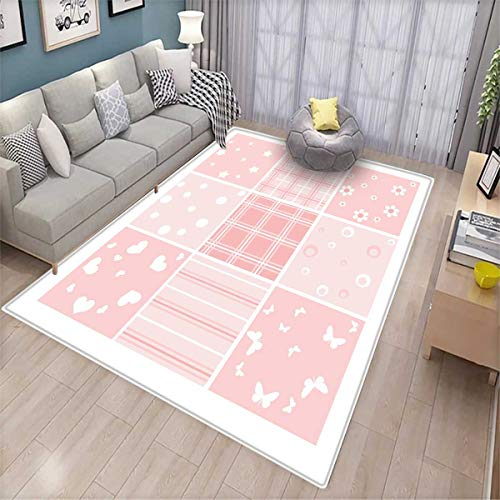 Baby Door Mats for Inside Abstract Checkered Squares with Different Designs Stars Hearts Flowers Lines Bath Mat for tub Bathroom Mat Pale Pink Rose White ()