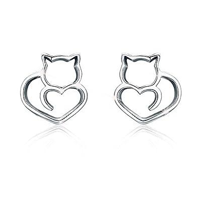 Pendientes de gato de plata de ley 925 con diseño de animale para mujeres y niñas, regalo de cumpleaños para ella: Amazon.es: Joyería