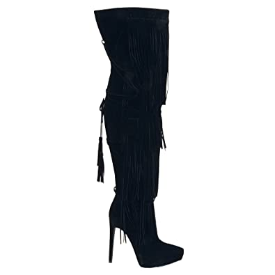71dc35a5da Amazon.com | Urban Heels Women's HUNTER-01 Faux Fur Over The Knee-High  Fringe High Heel Boots | Over-the-Knee
