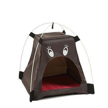 Cupcinu Cama de Animales Tienda de Mascotas Nido Cama de Gato Casa de Mascotas Funcional como un pequeño Monstruo con Boca Abierta Diseño Plegable (Marrón): ...
