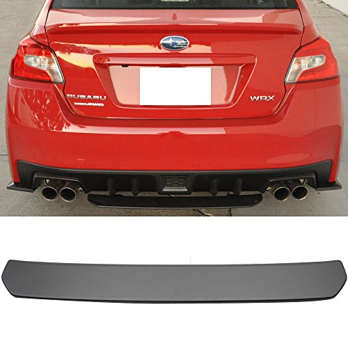 Rear Bumper Lip Fits 2015-2018 Subaru WRX STI | Black ABS Rear Lip Finisher Under Chin Spoiler Underspoiler Splitter Valance Underbody Bumper Fascia Add On by IKON MOTORSPORTS | 2016 2017